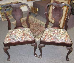 2 Antique Mahogany Queen Anne Chairs Needlepoint