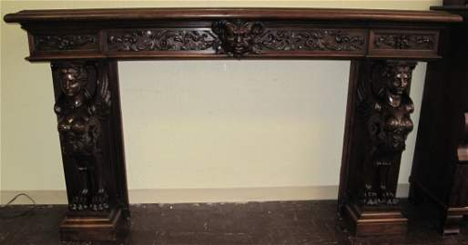 Antique Carved Walnut Fireplace Surround Mantle