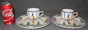 2 FRENCH HENRIOT QUIMPER FAIENCE CUPS & SAUCERS