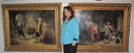 PAIR 19th cent. DUTCH OIL PAINTINGS signed GONTHIER