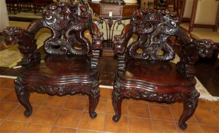 PAIR of JAPANESE MEIJI CARVED DRAGON CHAIRS