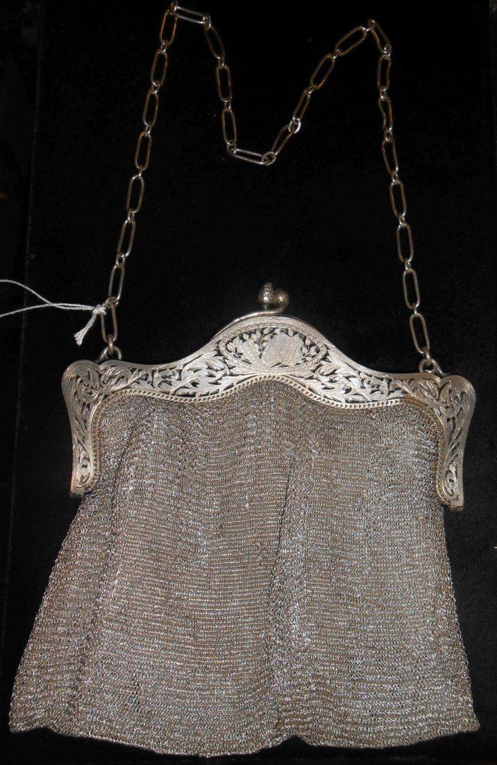 Vintage Sterling Silver Mesh Purse