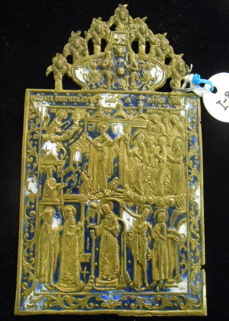 Antique Russian Bronze and Enamel Icon of Pokrov