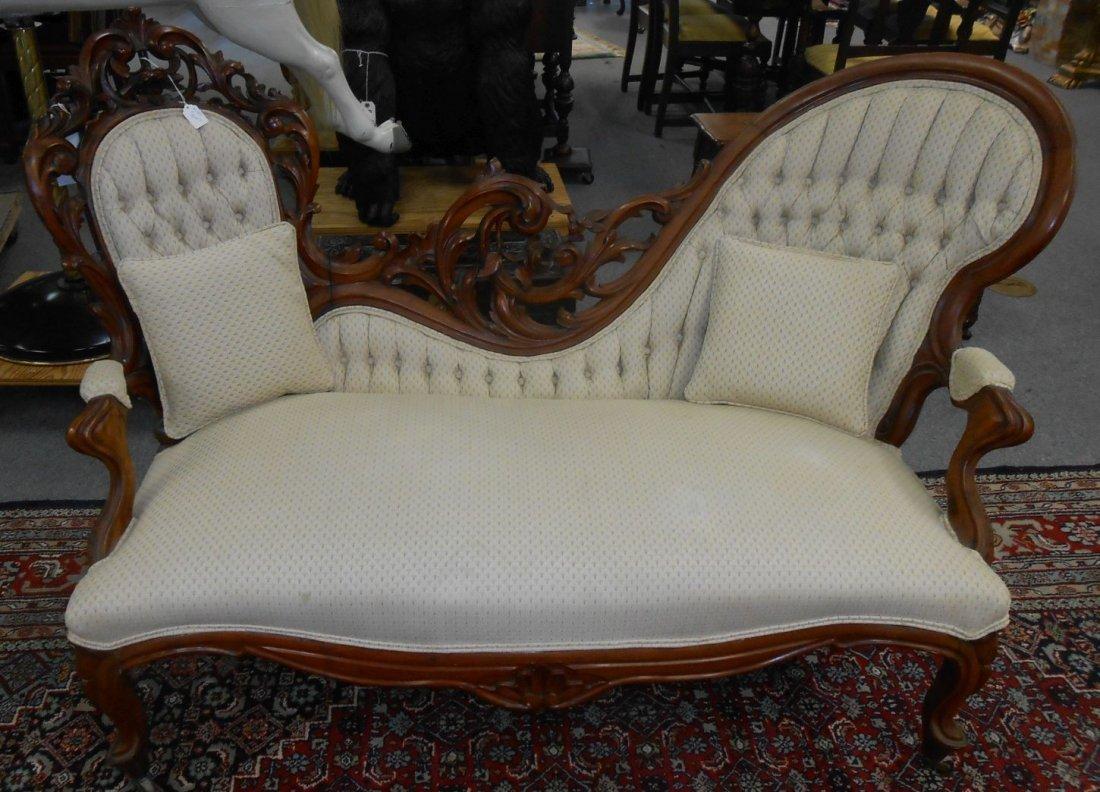 Antique Carved Walnut Victorian Sofa