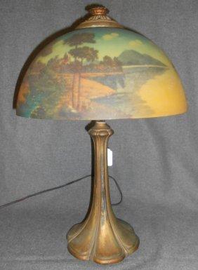 Antique Reverse Painted Table Lamp Jefferson