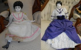 2 Antique Porcelain Dolls