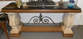 Designer Stone And Iron Console Table Marble Inlay