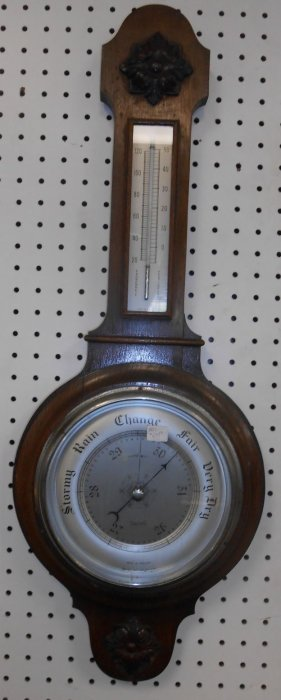 Antique Oak Barometer