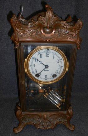 Vintage Bronze Regulator Empire Clock By Seth Thomas