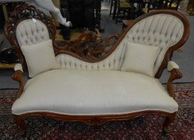 Antique Carved Walnut Victorian Sofa