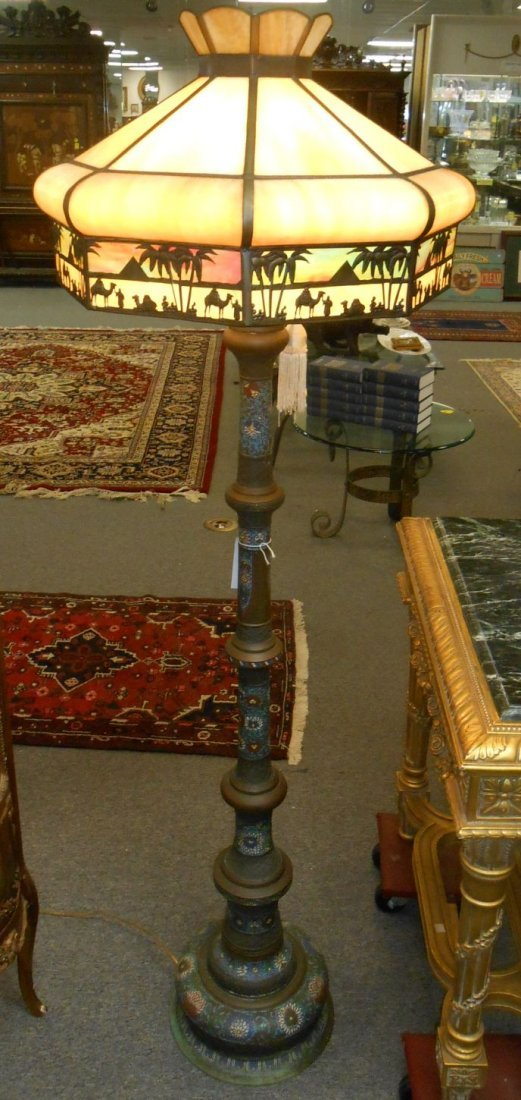 Vintage Champleve Floor Lamp