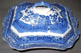 Antique Allerton's Flow Blue Willow Covered Dish