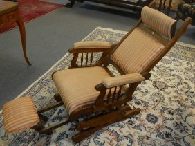Antique Oak Recliner Rocking Chair