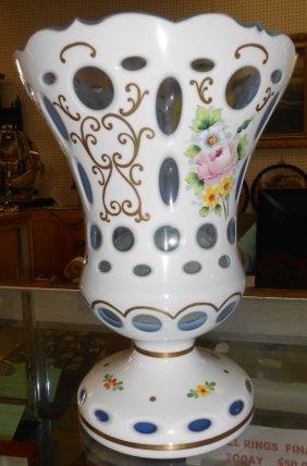Hand Painted Bohemian Cut Overlay Glass Vase
