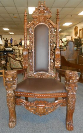 Pair (2) Of Carved Mahogany Throne Chairs With Lions