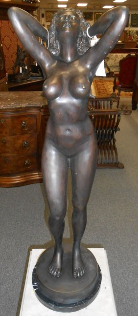 Bronze Sculpture Of A Nude Woman On Marble