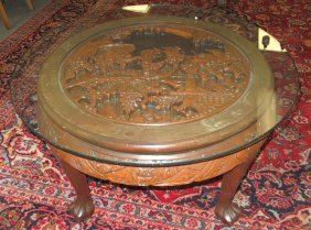 Round Carved Oriental Coffee Table