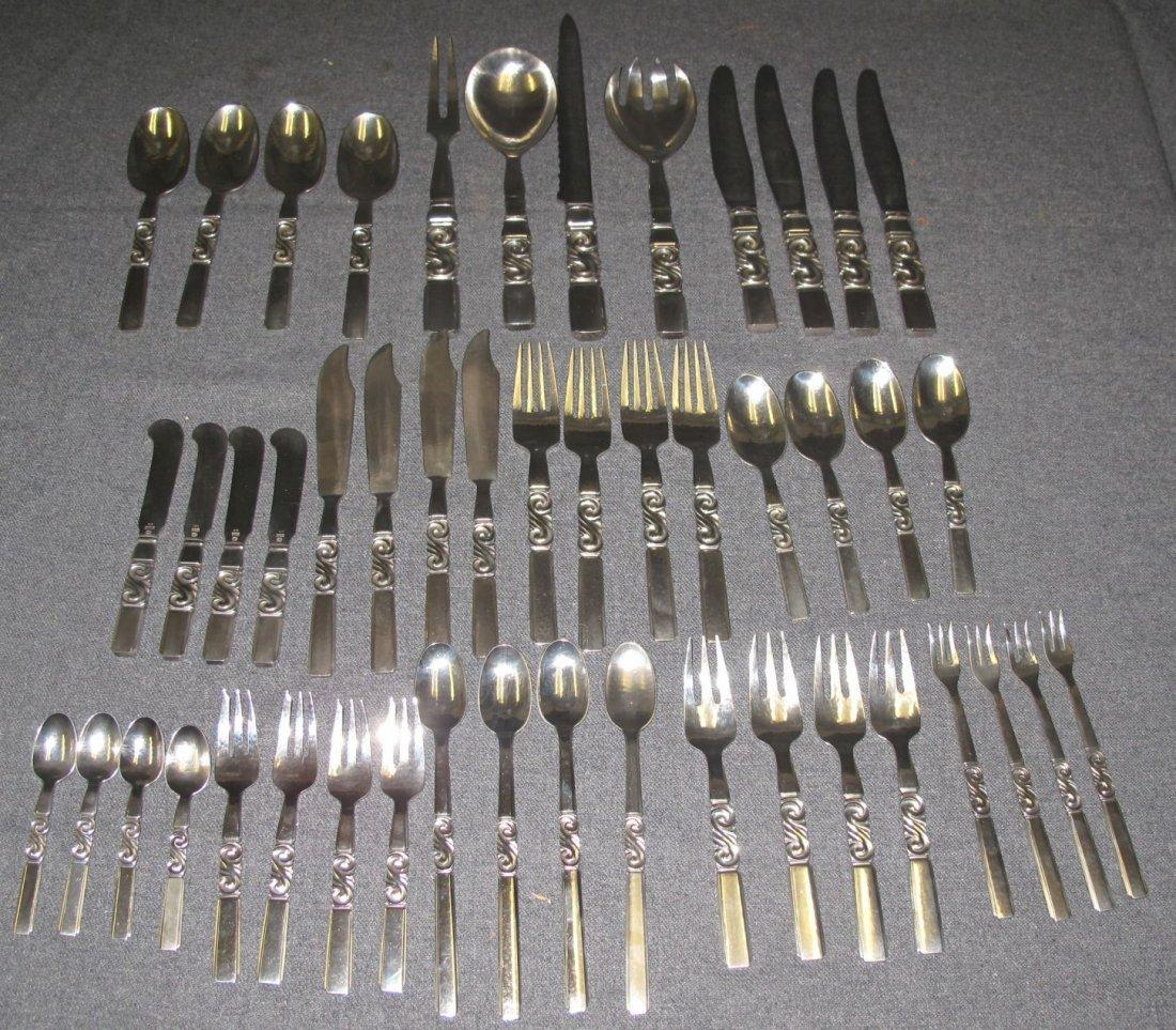 48 piece Georg Jensen Sterling Scroll Flatware Set