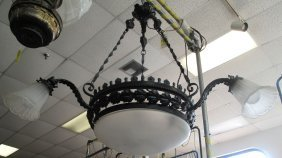 Antique Wrought Iron Hanging Light Fixture