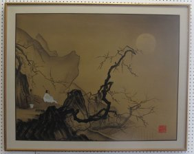 Large Oriental Oil On Canvas Painting