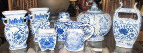 Collection Of 7 Pieces Blue & White Pottery