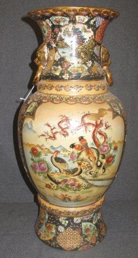 Large Hand Painted Satsuma Vase