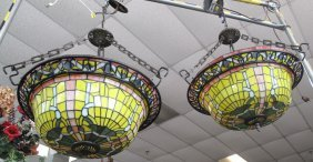 Pair (2) Of Stained Glass Hanging Fixtures