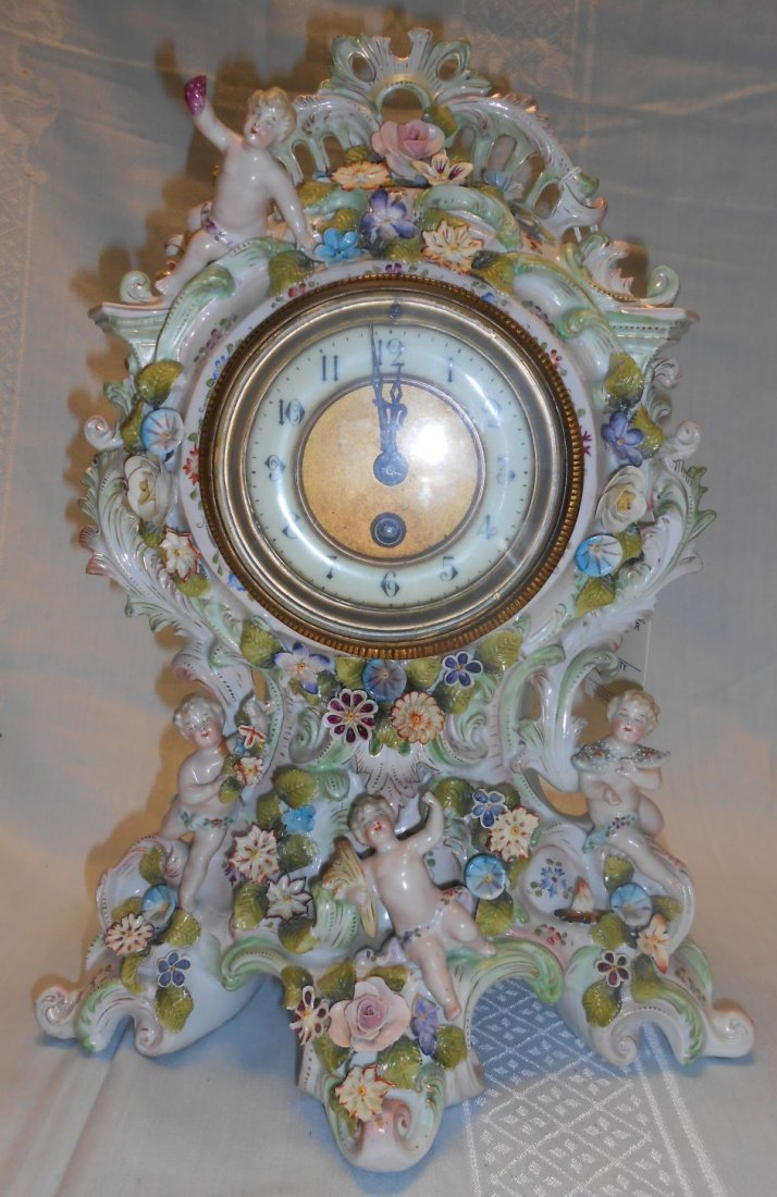 Antique French Porcelain Figural Mantle Clock