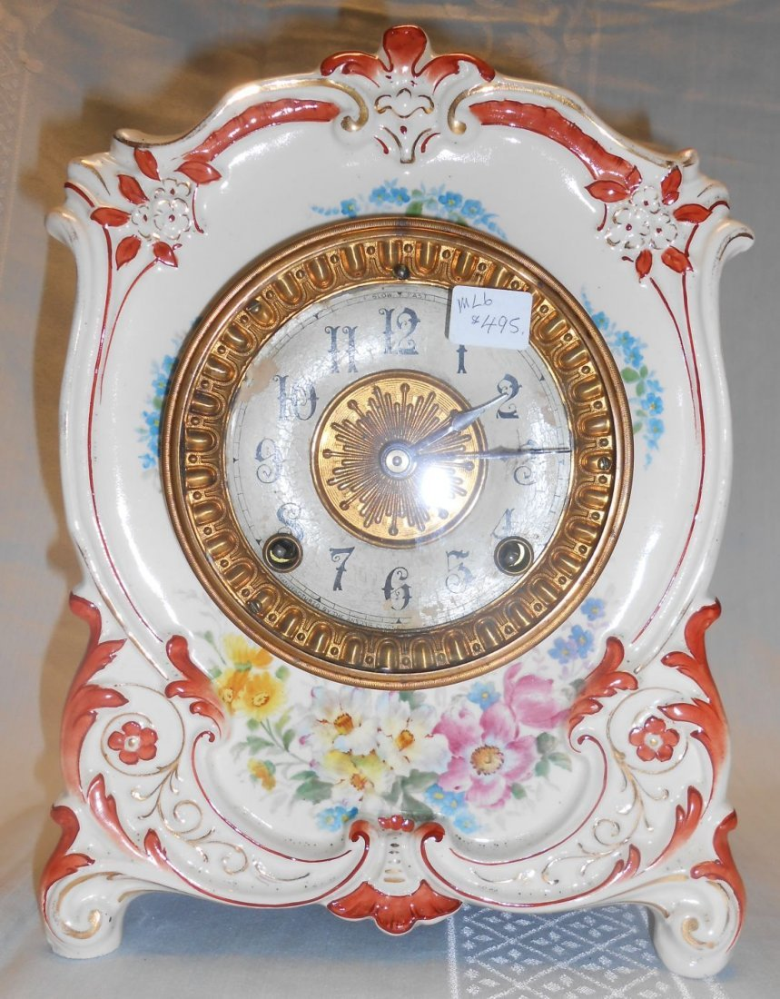 "Antique Porcelain Royal Bonn ""La Tour"" Ansonia Clock"