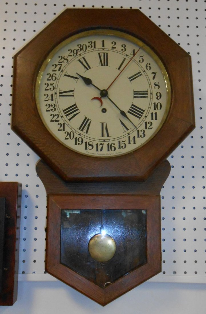Antique Arthur Pequegnat Wall Calander Clock