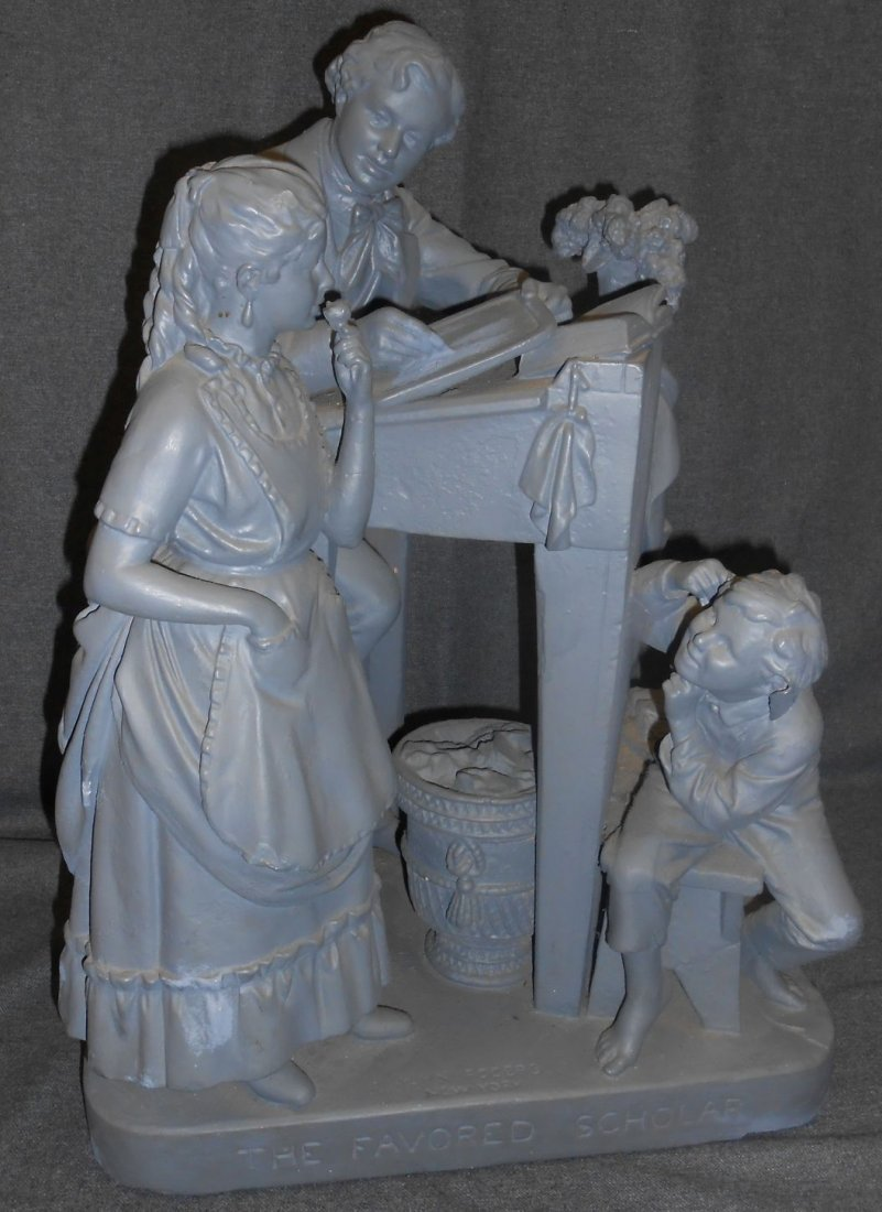 Antique Chalk Sculpture by John Rogers (1829-1904)