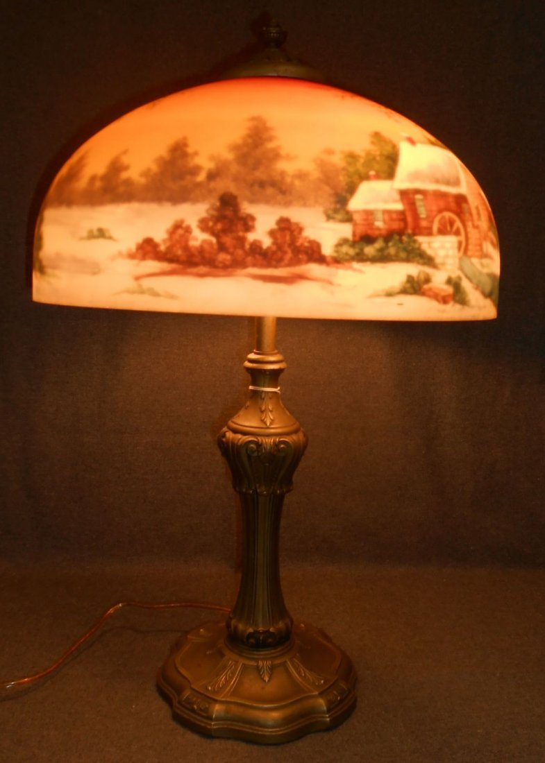Antique Arts & Crafts Reverse Painted Lamp Jefferson