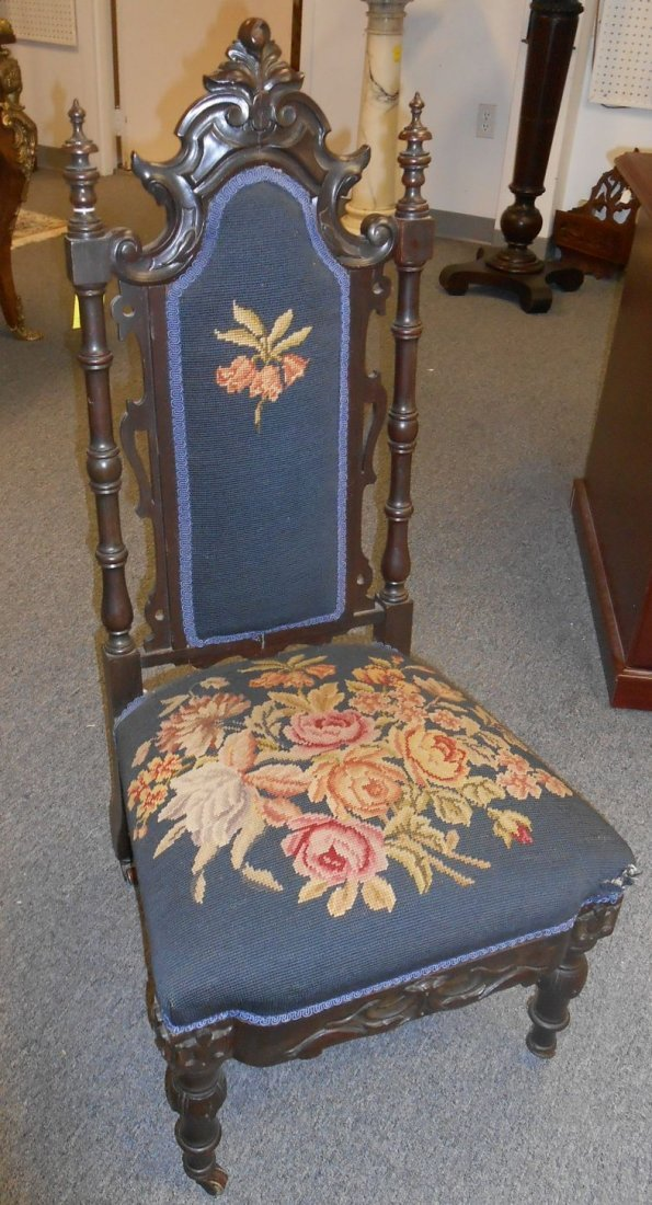 Antique Carved Walnut Slipper Chair with Needlepoint