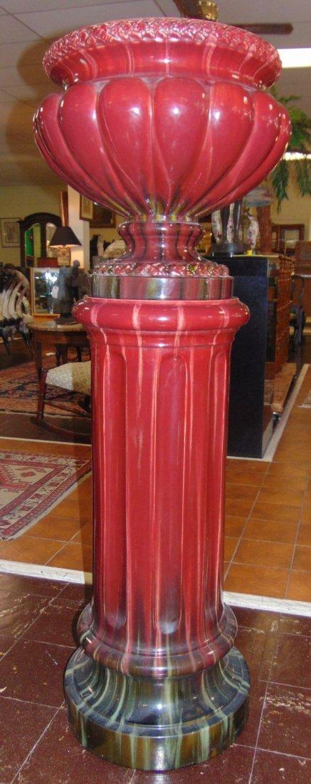 Magnificent Vintage Majolica Jardiniere & Stand