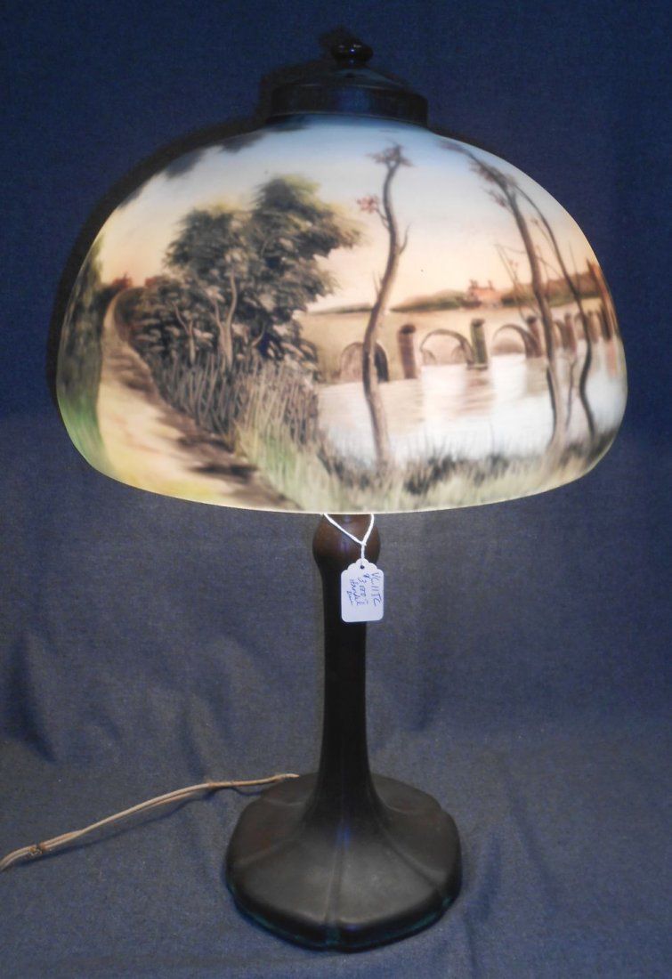 Antique Handel Reverse Painted Glass Table Lamp Signed