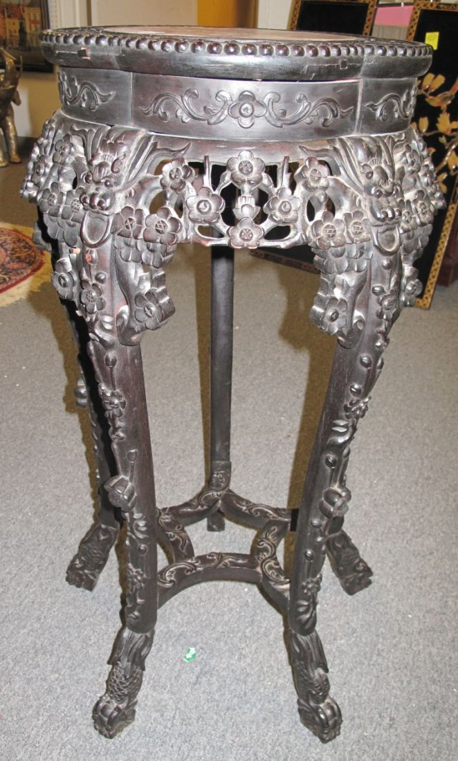 Antique Carved Oriental Plant Stand