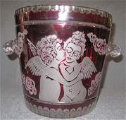 European Cut & Etched Ruby Red Crystal Champagne Bucket