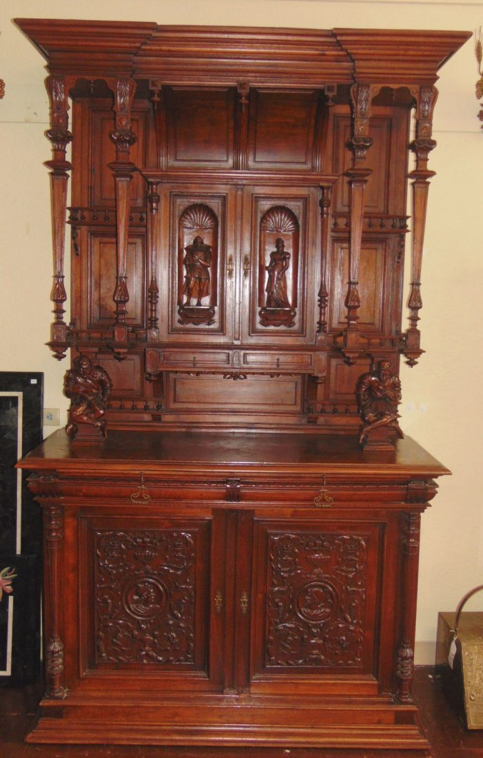 Antique French Renaissance Sideboard with Jesters