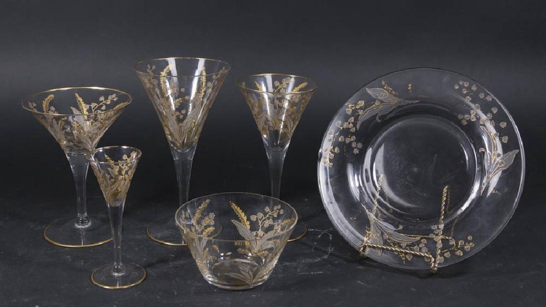 Set of 55 Gold Decorated Glasses, Bowls, & Plates