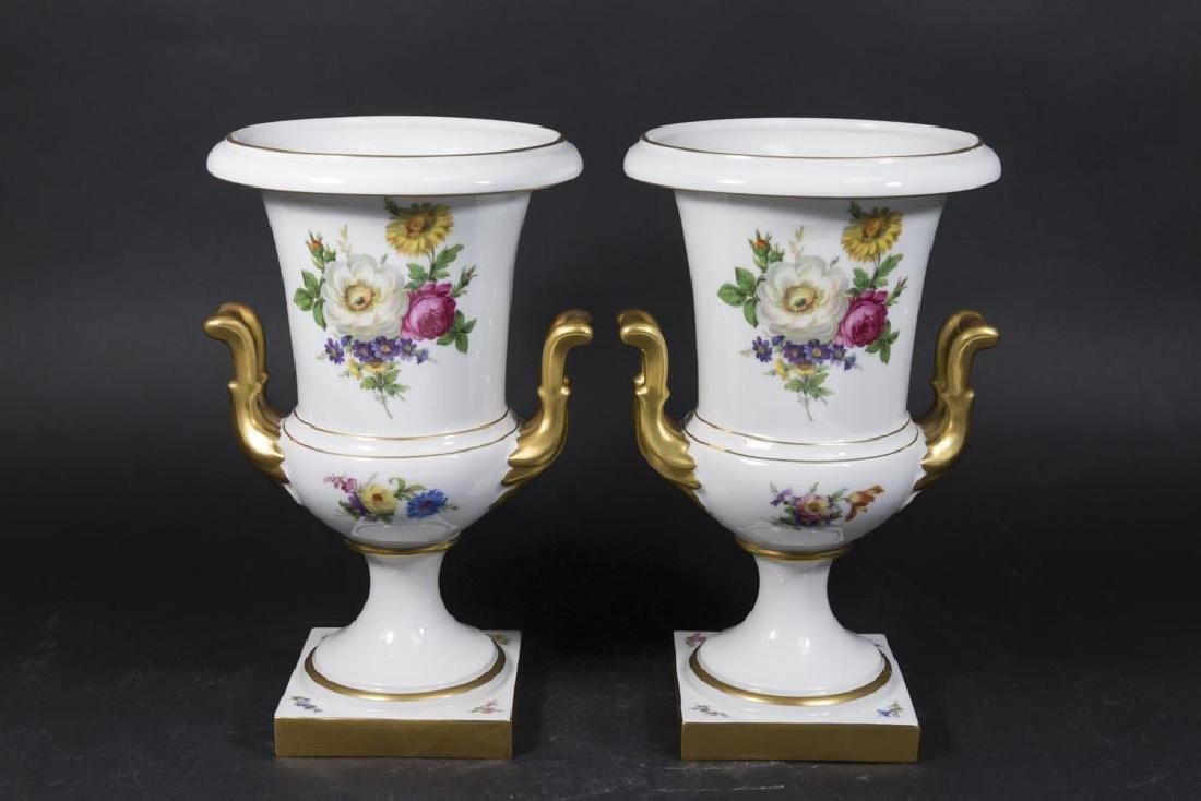 Pair Bavarian Porcelain Double-Handled Urns