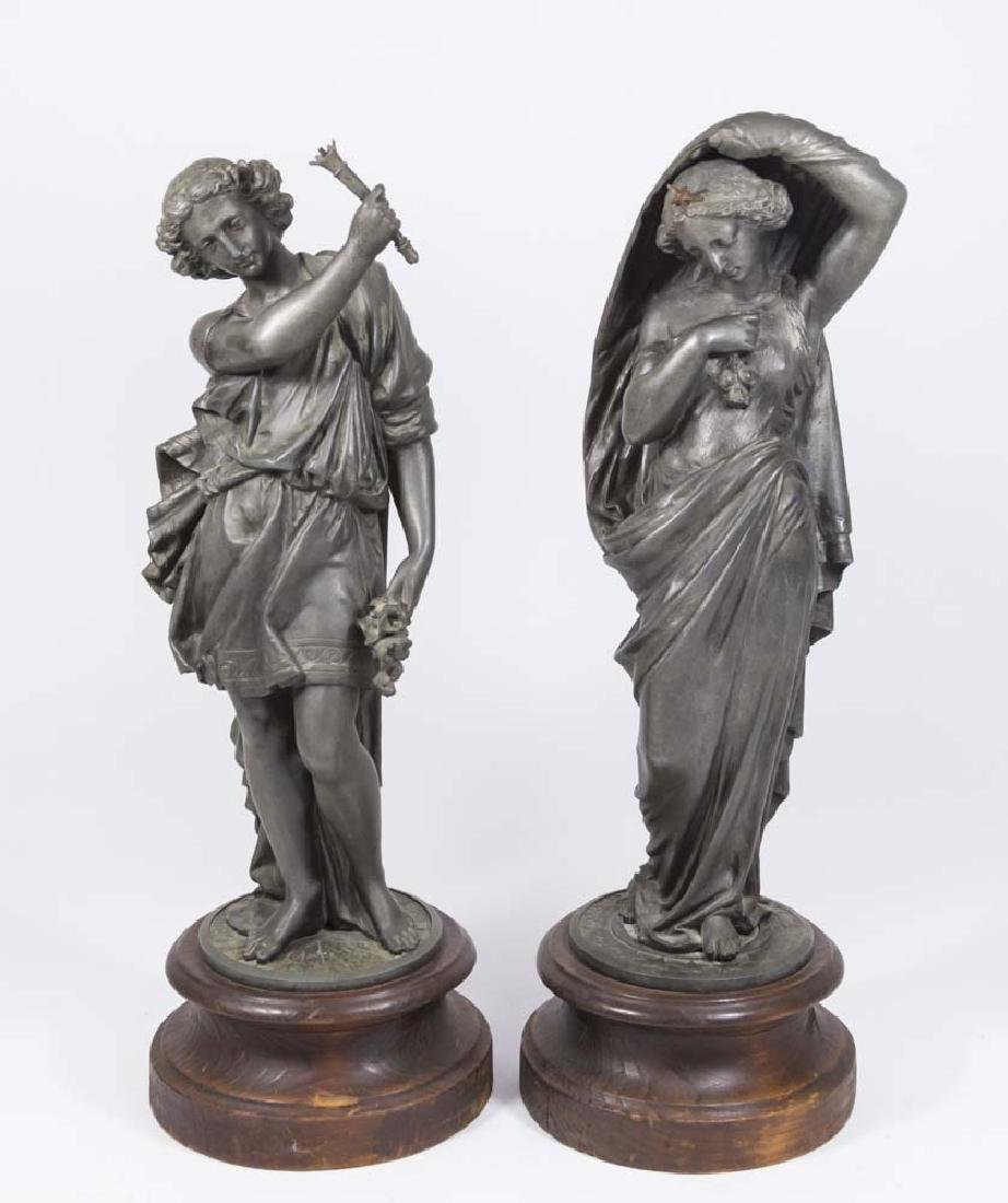 Pair White Metal Figures on Wooden Bases