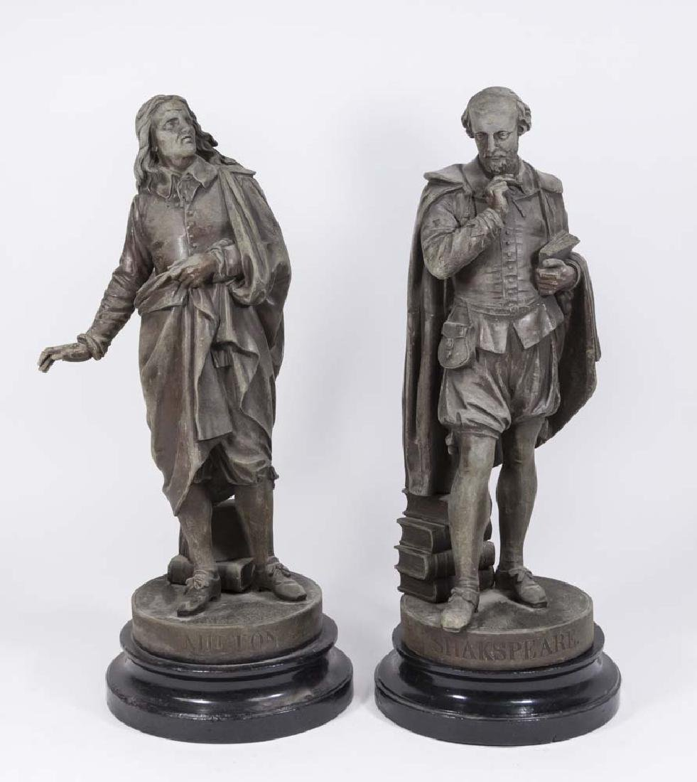2 Spelter Figures, Milton & Shakespeare
