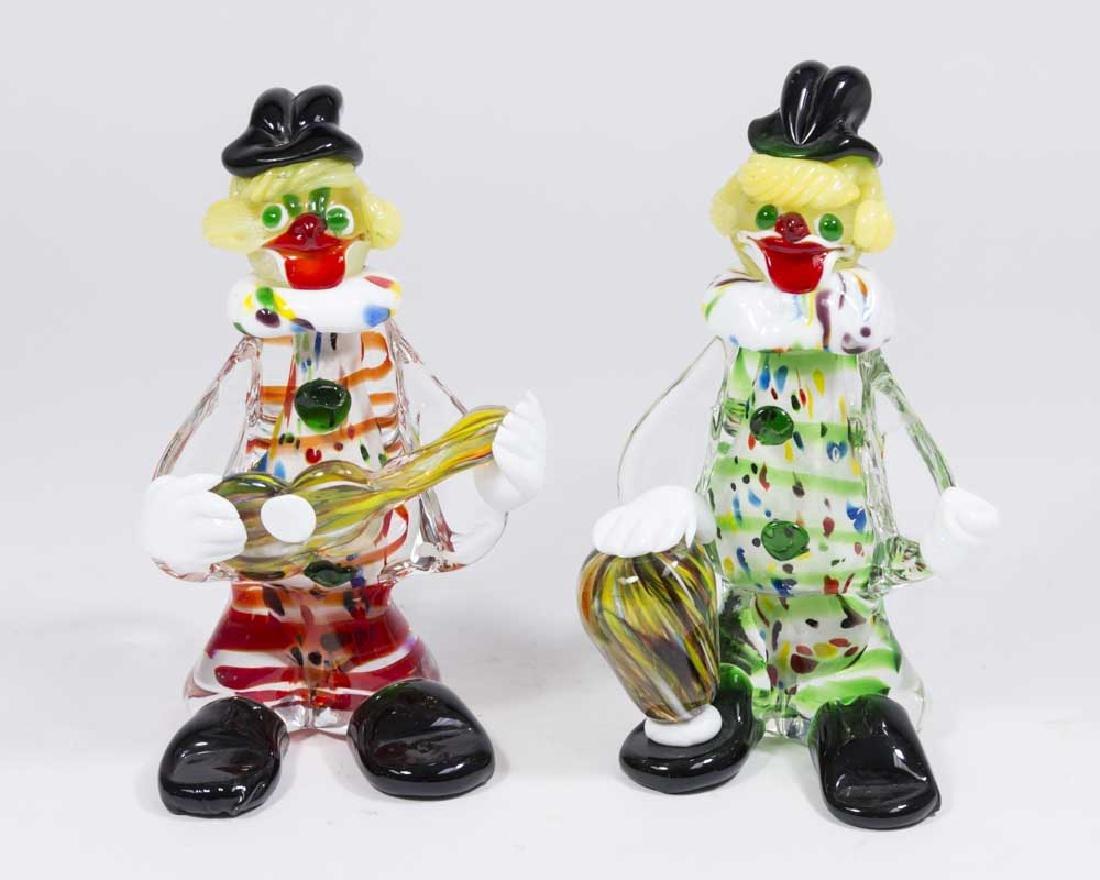 Pair Murano Glass Clown Figures