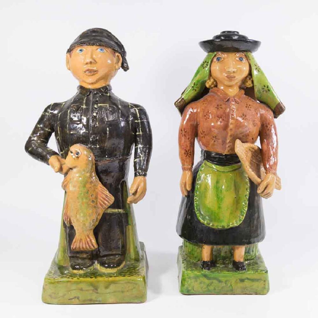 Pair Terracotta Figures