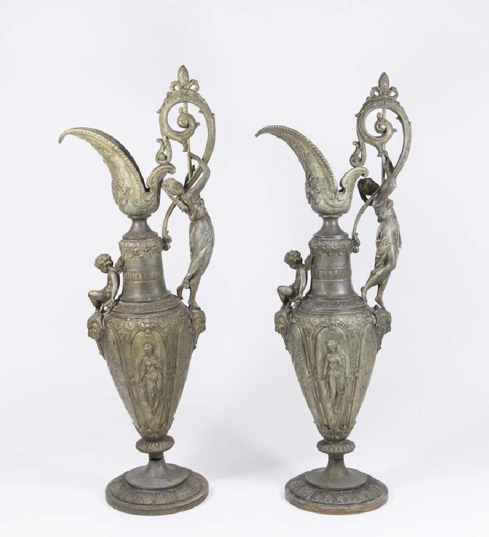 Pair Figural Spelter Ewers