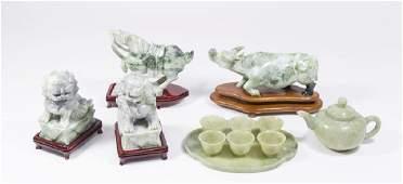 Childs Jade Teaset  Carved Stone Figures