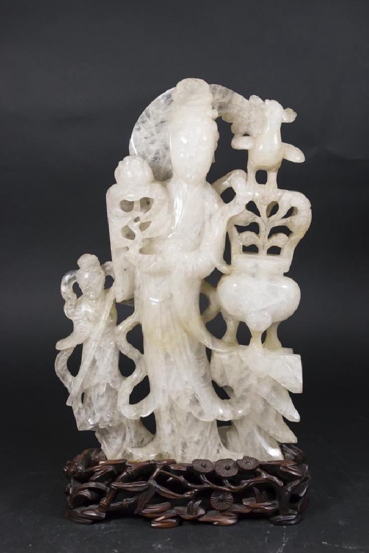 Chinese White Jade Guan Yin with Lotus & Child