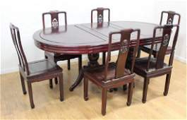 Chinese Hardwood Dining Room Table with 6 Chairs