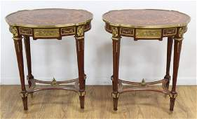 Pair Louis XVI Style Inlaid Wood Oval Side Tables