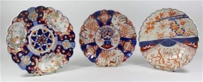 3 Japanese Imari Ceramic Scalloped Chargers